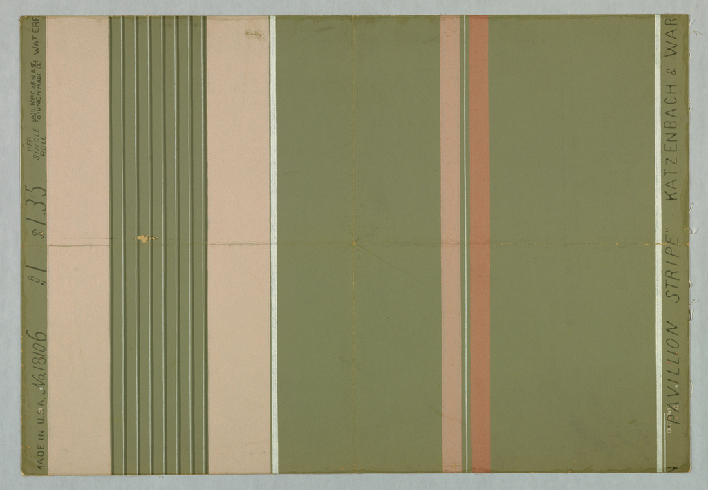 Design of stripes of several widths in dark green, white and three shades of pink on green ground.