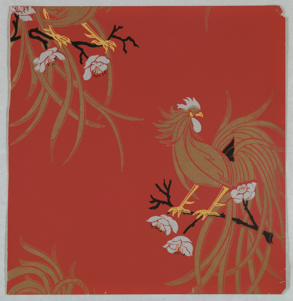 Large roosters printed in tan and white on deep red ground.