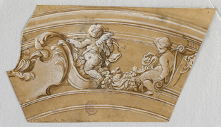 Trapezoid. At left, half an escutcheon with scrolling acanthus leaves. At left, two putto with a flower garland. Undecorated entablature at top.