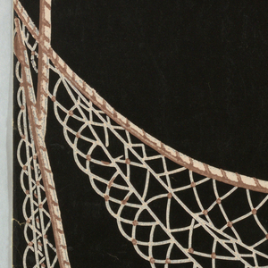 Design of a draped net with festoons of sea shells string on rope. Printed in pink, white and brown on black ground.