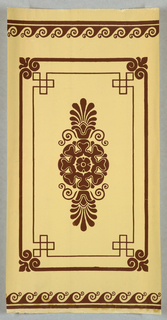 Brown floral/palmette motif with border; wave pattern at top and bottom edge, on off-white ground.