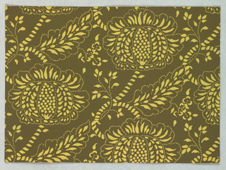 Against a dark gray-green ground are printed large imaginary flowers and foliage connected by curving branches and stems. Printed in one value of light, dull yellow to simulate a resist-printed textile. Full repeat not shown.