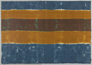 Stripe in teal, brown and tan with areas of exposed white paper running the length of the design.