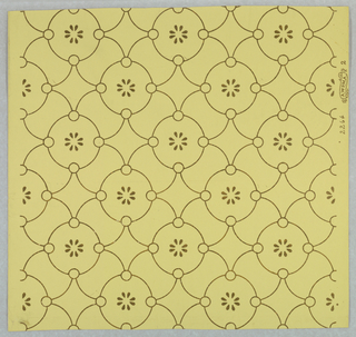 """Circle motif containing stylized flower, connected by diamond shape, printed in gold on light yellow ground. Samples wallpaper """"Easton's Castle"""" Aberdeen, S.D."""