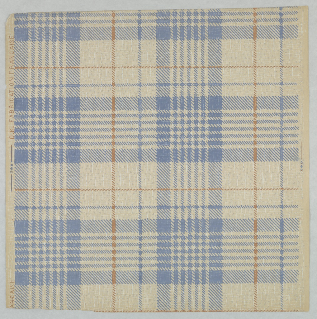 A full width, giving less than one repeat of a simulation of textile plaid in blue and tan. Printed in blue, tan and white on neutral cream ground.