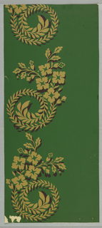 A design composed of broad stripes of scrolls of laurel leaves with a spray of four flowers with buds and leaves between each scroll. It is suggestive of an empire design and was probably derived from one. It can be used as a striped wallpaper or cut into strips and used as a border.