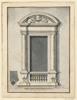 "A balustrade is beneath the window opening. It is flanked by pedestals supporting pilaster strips and embedded columns. On top are an entablature and a circular pediment with a helmet, with mantling in the field. The plan of the window case is below at the left. Scale at bottom: ""Scala di Plmi 10 = Romani."""