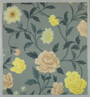 Design of branching stems with several kinds of flowers and leaves. Printed in pink, yellow, white on blue ground.
