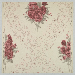 Design of dotted, scrolling lines forming lozenges with bunches of flowers (roses, carnations and others) in the center. Printed in red and gray.
