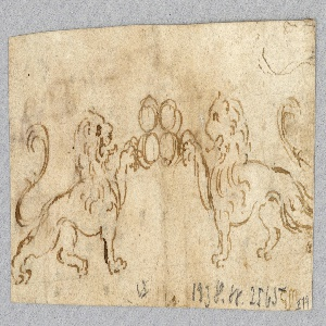 Obverse: the lions are shown in profile, facing each other. They clutch the balls with their fore paws, turned backward. Reverse, at right, the upper part of a molded frame, the central part of which protrudes.