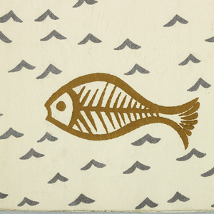 Design of fish, printed in gold on a white ground with chevrons (indicating waves) printed in silver.