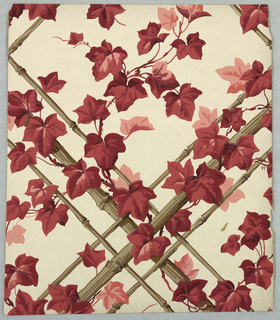 Red and mauve maple leaves on rustic diamond trellis support. Printed on white ground.