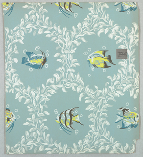 A variety of tropical fish, each set within ogival framework of seaweed. Printed in colors on pale blue ground.