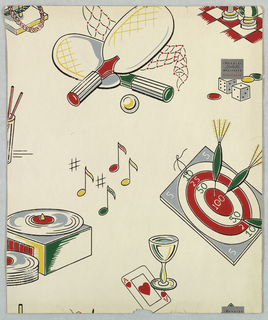 Design showing various forms of entertainment, ping pong or table tennis, darts in a dartboard, phonograph playing music, a cocktail with a playing card showing ace of hearts, and partial image of game of chess. Paper would have been appropriate for game room or den.