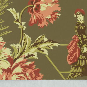 Against a dark olive-green ground are printed isolated groups of children and adults, dresed in late 19th century costumes, engaged in summertime activities and sports. Bunches of large flowers separate the figural groups and both figures and flowers are printed in several values of dull red and green. Full repeat not shown.
