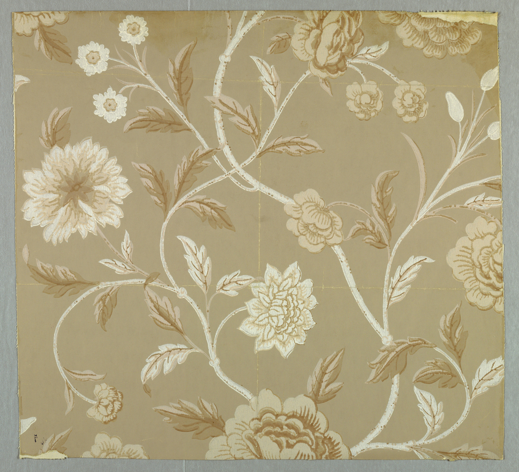 Design of branching stems with several kinds of flowers and leaves. Printed in brown and tan with white on beige ground.