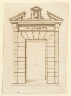 Gate with a broken pediment supported by brackets. No scroll volutes. 