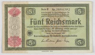 Banknote, German banknote: 5 DM, 1934