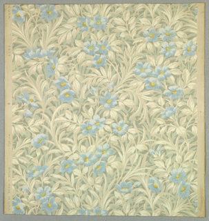 Over-all pattern of pale blue and yellow flowers with twisting cream and white leaves and a gray background. However, the ground color itself, is actually light cream to which the white, gray, and other colors are applied. Light horizontal closely spaced lines run throughout.
