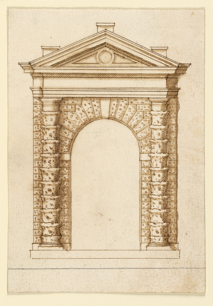 Engaged rustic columns with Tuscan capitals projecting from an archway. Above, an undecorated entablature and triangular pediment with three vertical projections.