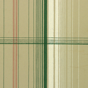 Plaid design of stripes in three different widths, printed in green, white and red verticals crossed by green horizontals on tan ground.