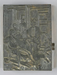 horizontal rectangle - the scene shows the interior of a room with four men grouped in conversation, one being seated in an arm chair, left.