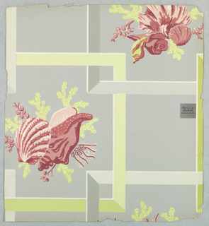 Small groups of sea shells and coral set within interlocking grid of frames, creating a shadow box effect. Printed in red and greens on pale gray or taupe ground.