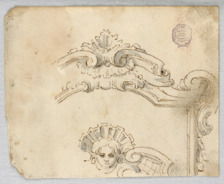 Design for the top of a scrolling frame. Below, a mask with suggestion of strapwork.