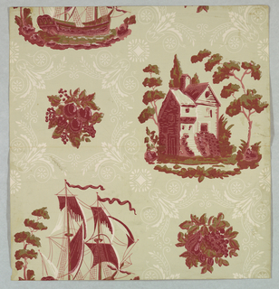 Reproduction of a federal-style paper. Landscape view of a house surrounded by trees, another view of a tall ship, alternate with a circular floral and foliate motif. Printed in red and green on taupe ground.