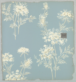 Small groupings or bouquets of floral sprigs, or Queen Anne's lace. Printed in shades of off-white on pale blue ground.