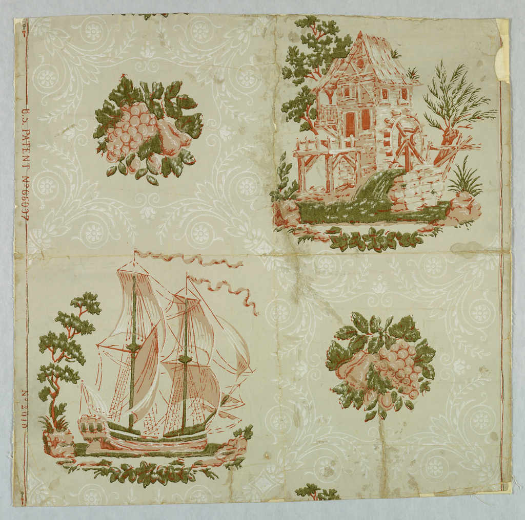 Made by Zuber of France for Harriet Bryant in New Milford, Connecticut. Patented in U.S.A. Copied from old American band box. Gray field divided into medallions with a fine scroll work in white. Two small fruit designs of peas and grapes, designs reversed in alternate rows. Two large designs, one of a two-masted sailing vessel, the other of an old mill with wheel and mill stream. These same designs also printed by Birge of U.S.A.