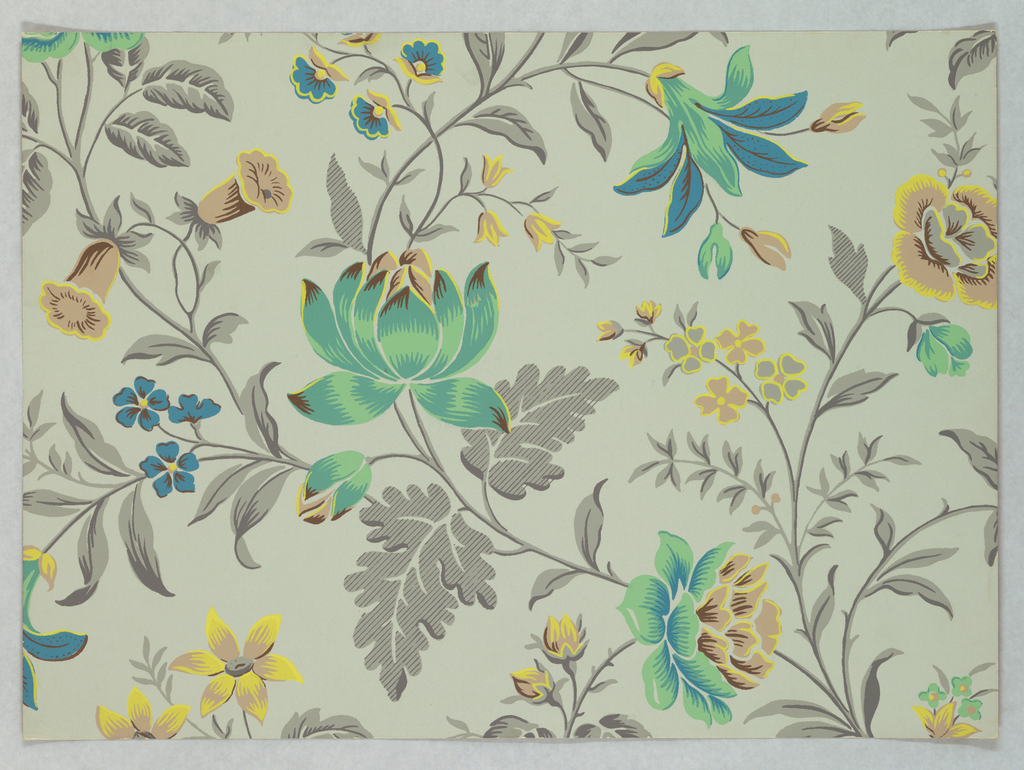 Against a gray ground are printed darker gray, undulating branches and foliage bearing green, blue and yellow blossoms. Full repeat not shown.