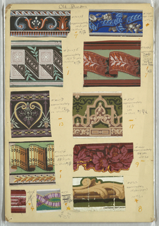 Eleven border samples mounted on board, including ribbons, three-dimensional effects, fancy gimp and floral motifs.