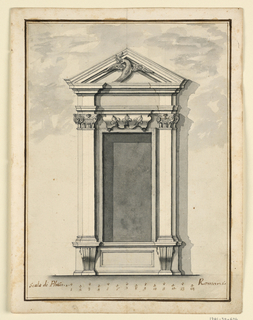 Below is a dado, with an oblong panel between volutes. An escutcheon with three lilies is on top of the molded frame of the opening. Pilasters and pilaster strips support the entablature and the triangular pediment. A flying dove is shown in the field.