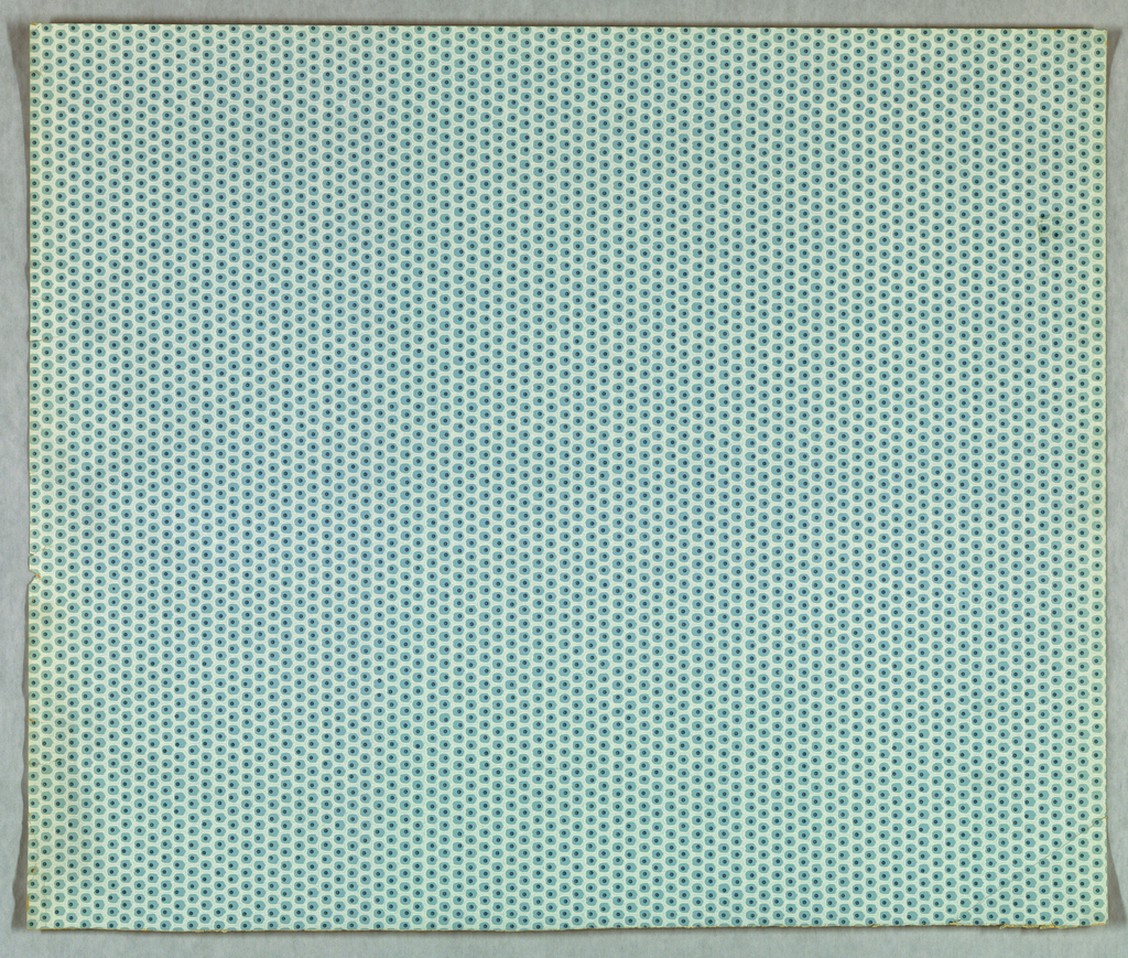 """Four samples removed from the """"Greenbrook II Collection"""". a) Basque - All-over pattern of dark blue pin dots forming vertical rows.These dots are enframed by a light blue background forming a fish-scale pattern. Printed on medium blue ground"""