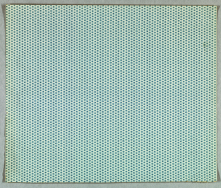 "Four samples removed from the ""Greenbrook II Collection"". a) Basque - All-over pattern of dark blue pin dots forming vertical rows.These dots are enframed by a light blue background forming a fish-scale pattern. Printed on medium blue ground"