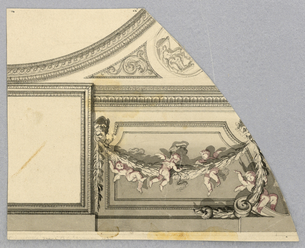 Irregularly shaped page. At top left, a curving moulding with guilloche. Below, to the left: an undecorated square. To the right a swag held aloft by a lion mask. Around this flies four putti.