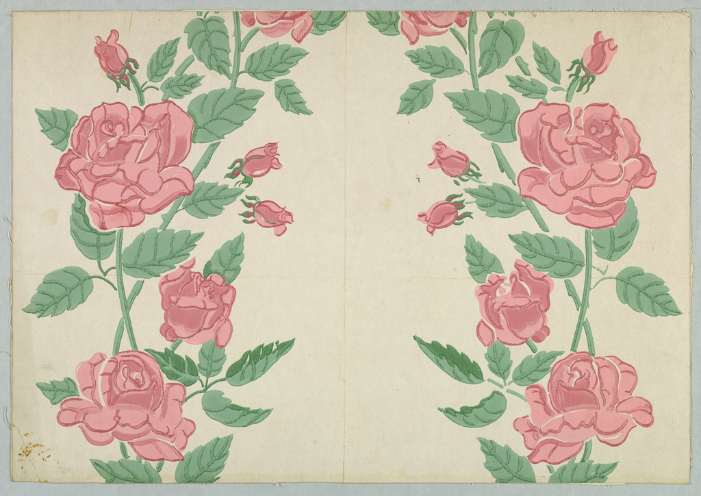 Design of curving, crossing stems with pink roses, buds and leaves on pale gray ground.