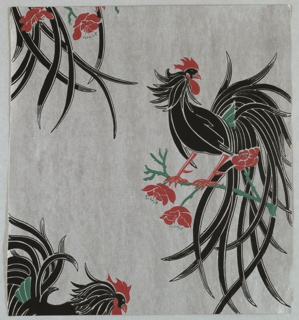 Large roosters printed in black and red, perched on a branch, printed on a silver ground.