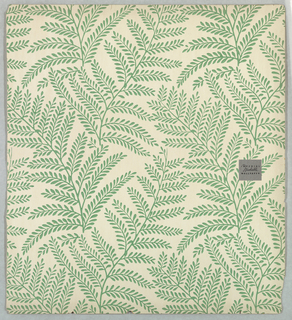 Repeating all-over pattern of fern fronds. Printed in green on white ground.