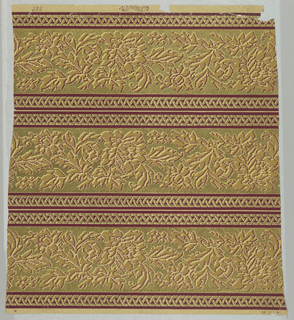 Three panels of wallpaper border printed on one width. Bands of conventionalized flowers and foliage against an embossed and gilt ground. Above and below, narrow bands of woven, geometric strapwork against a deep red ground.