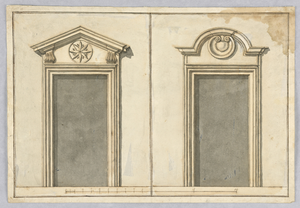 At left, a triangular pediment whose entablature is supported by balustre consoles. Inside is a circle with a star-like blossom. At right, a segmented pediment with shell. Below is a scale.