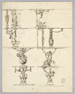 Vertical rectangle showing eight designs for console tables, each with a figural base.