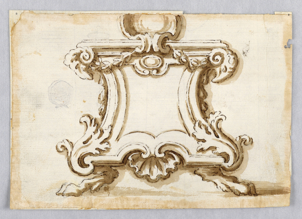 Supported by lion legs with ram heads beneath the top corners and with an escutcheon rising in the top center.
