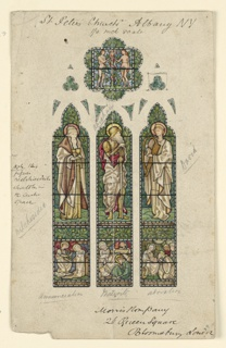 Window with three panels showing standing figures of Melchisedech, Abraham. and David. Below them, respectively, the Annunciation, Nativity, and Adoration of the Magi. Above, in a scalloped panel, Adam and Eve with the Tree of Knowledge between them.