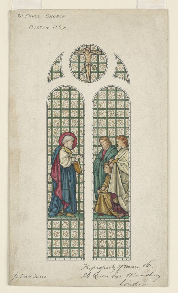 Drawing Design For Stained Glass Window St Paul S Church Boston Ma 1870 74 Objects Collection Of Cooper Hewitt Smithsonian Design Museum