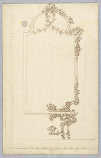 Elevation of a pier glass above a console table, both with the right hand side decorated with scrolls and floral garlands.