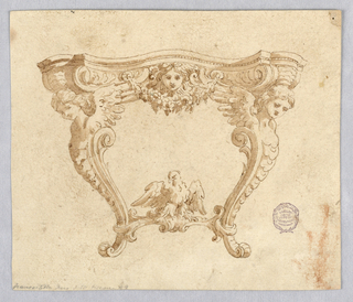 Elevation of a console table. Cabriole leg with winged caryatid. Stretcher decorated with a bird. Undulating table top decorated with mask and festoon.