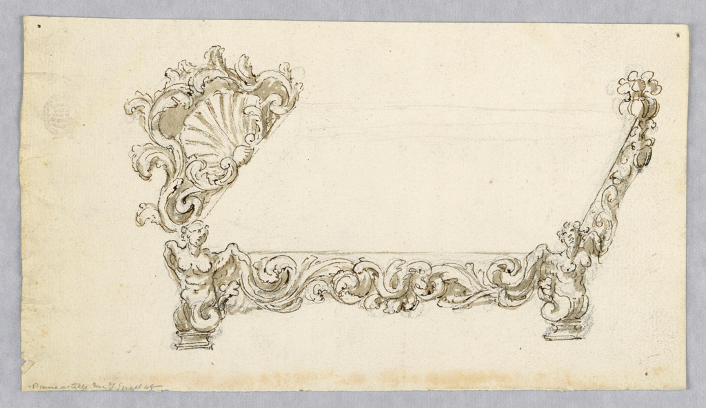 Elevation of a bed composed of scrolling acanthus leaves, shells and fantastic female figures. Large overhanging canopy, and inclined footboard.