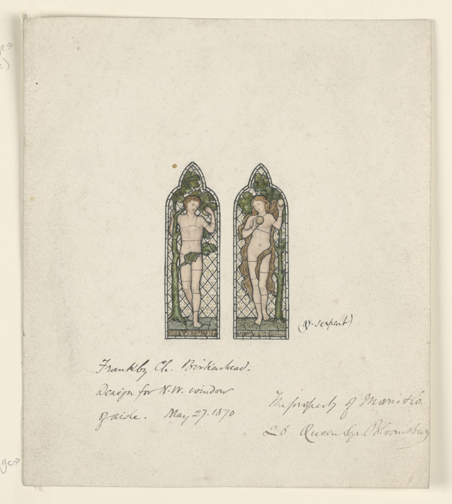 Drawing, Adam and Eve, Design for Stained Glass Window, Frankby Church, Birkenhead (Cheshire), England